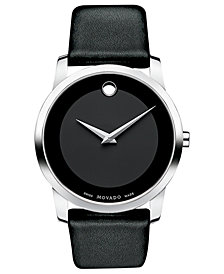 Movado Unisex Swiss Museum Black Leather Strap Watch 40mm 0606502