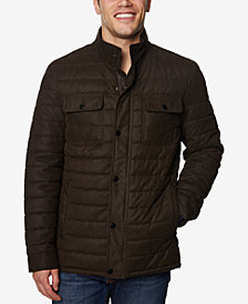 Perry Ellis Men's Quilted Microsuede Jacket