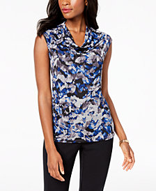 Kasper  Printed Cowl-Neck Shell, Regular & Petite Sizes