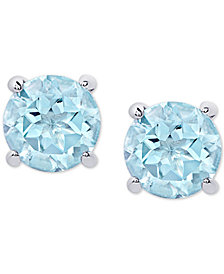Blue Topaz Stud Earrings (2 ct. t.w.) in Sterling Silver