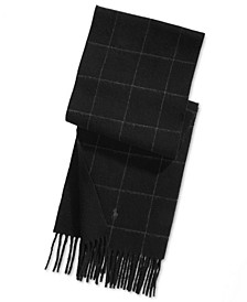 Men's Reversible Windowpane Plaid Scarf