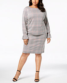 Nine West Plus Size Plaid Blouse & Skirt
