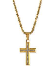 "Esquire Men's Jewelry Diamond Cross 22"" Pendant Necklace (1/6 ct. t.w.) in Gold-Tone Ion-Plated Stainless Steel, Created for Macy's"