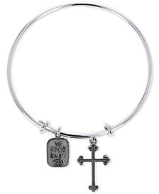 King Baby Cross & Logo Adjustable Bangle Bracelet in Sterling Silver