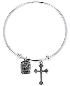 King Baby Women's Cross & Logo Adjustable Bangle Bracelet in Sterling Silver