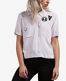 Volcom Juniors' Short-Sleeve Graphic-Patch Shirt