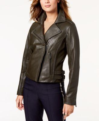 Leather Buckle Moto Jacket