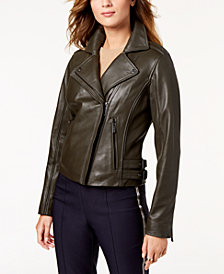 MICHAEL Michael Kors Leather Buckle Moto Jacket