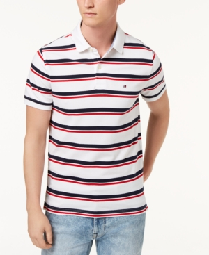 f63c4732 Tommy Hilfiger Men'S Striped Slim Fit Polo, Created For Macy'S In Bright  White