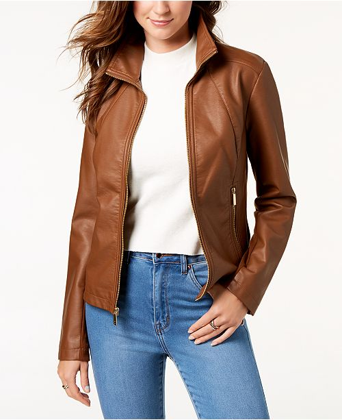 897adf14f Kenneth Cole Faux-Leather Jacket & Reviews - Coats - Women - Macy's