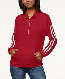 Ultra Flirt by Ikeddi Juniors' Striped Quarter-Zip Sweatshirt