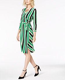 I.N.C. Petite Striped Midi Wrap Dress, Created for Macy's