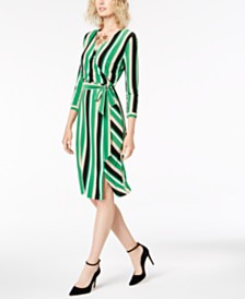 I.N.C. Striped Wrap Dress, Created for Macy's