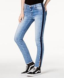 Mid Rise Tuxedo Side Slit Skinny Crop Jeans