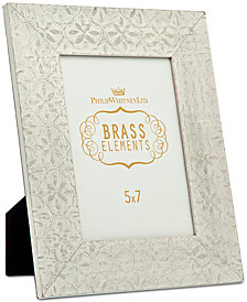 """Philip Whitney 5"""" x 7"""" Whitewashed & Embossed Floral Picture Frame"""