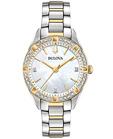 Women's Sutton Diamond (1/10 ct. t.w.) Two-Tone Stainless Steel Bracelet Watch 32.5mm