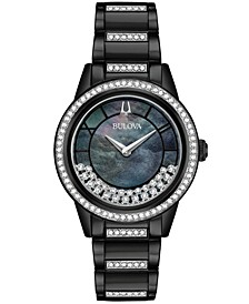 Women's Turnstyle Black Stainless Steel & Swarovski Crystal Bracelet Watch 32.5mm