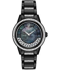 Bulova Women's Turnstyle Black Stainless Steel & Swarovski Crystal Bracelet Watch 32.5mm