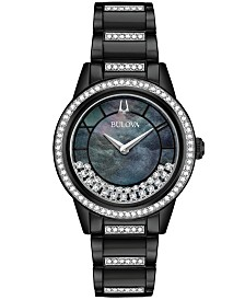 Bulova Women's Turnstyle Black Stainless Steel & Swarovski Crystal Bracelet Watch 32.5mm