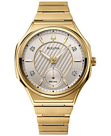 Bulova Women's Curv Progressive Sport Gold-Tone Stainless Steel Bracelet Watch 40.5mm