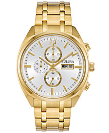 Bulova Men's Chronograph Classic Surveyor Gold-Tone Stainless Steel Bracelet Watch 42mm