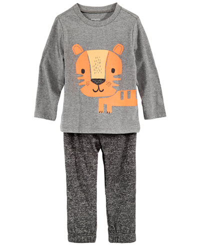 First Impressions Toddler Boys Tiger-Print T-Shirt & Marled Jogger Pants, Created for Macy's