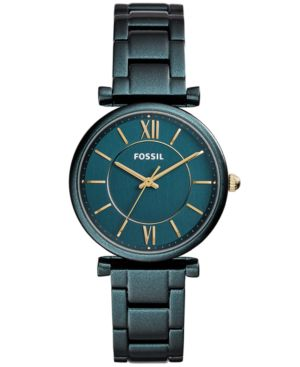 FOSSIL Women'S Carlie Teal Stainless Steel Bracelet Watch 35Mm