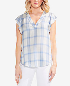 Vince Camuto Plaid Flutter-Sleeve Top