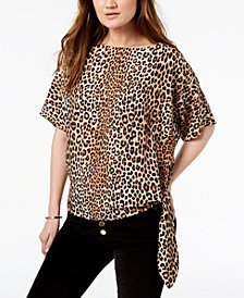 MICHAEL Michael Kors Printed Tie-Hem Top, In Regular & Petite Sizes