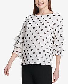 Calvin Klein Tiered-Sleeve Polka-Dot Top