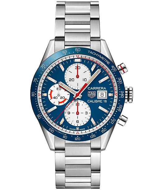 f0429e1efda ... TAG Heuer Men's Swiss Automatic Chronograph Carrera Calibre 16  Stainless Steel Bracelet Watch ...