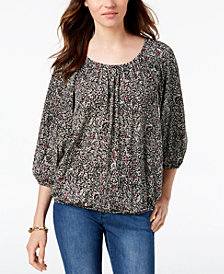 MICHAEL Michael Kors Printed Peasant Top, Created for Macy's