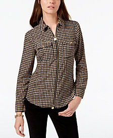 MICHAEL Michael Kors Lock Zip-Front Shirt, In Regular & Petite Sizes