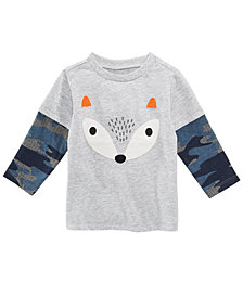 First Impressions Baby Boys Layered-Look Fox-Print T-Shirt, Created for Macy's