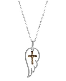 Champagne Diamond Accent Angel Wing Cross Pendant Necklace in Sterling Silver