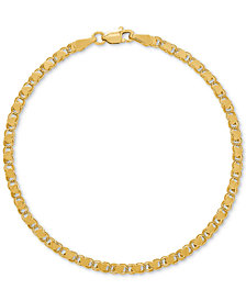 Tricolor Textured Oval Link Bracelet in 14k Gold