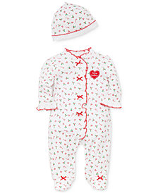Little Me Baby Girls Cotton Candy Cane-Print Footed Coverall with Hat