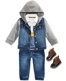 First Impressions Baby Boys Hooded Denim Jacket, Polo Shirt, Jeans & Boots, Created for Macy's