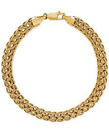 Wide Woven Link Bracelet in 10k Gold