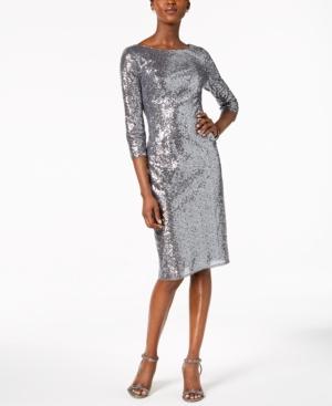 Adrianna Papell V-Back Sequin Sheath Dress