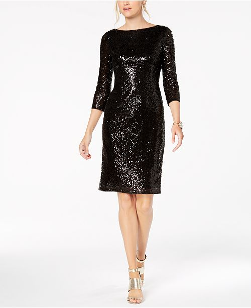 V Black Sequin Sheath Back Papell Dress Adrianna SYq4x5twn0