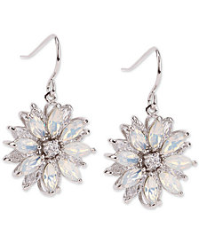 Nina Silver-Tone Crystal & Stone Flower Drop Earrings