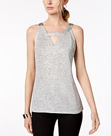 I.N.C. Metallic Cutout Top, Created for Macy's