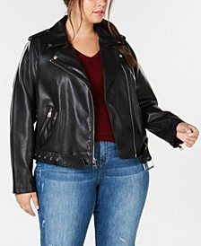 Trendy Plus Size  Faux-Leather Belted Moto Jacket