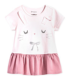 First Impressions Baby Girls Bunny-Print Peplum Cotton Top, Created for Macy's