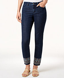 Charter Club Bristol Skinny Embroidered-Ankle Jeans, Created for Macy's