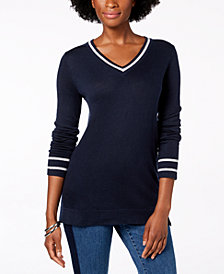 Charter Club Metallic Trim Sweater, Created for Macy's
