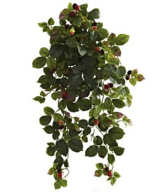 """Nearly Natural 2-Pc. 32"""" Raspberry Artificial Hanging Bush Set with Berries"""