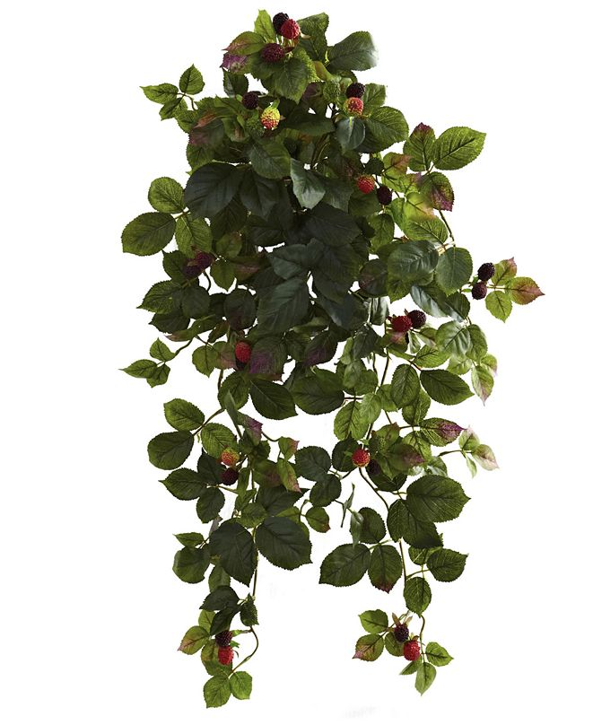 "Nearly Natural 2-Pc. 32"" Raspberry Artificial Hanging Bush Set with Berries"