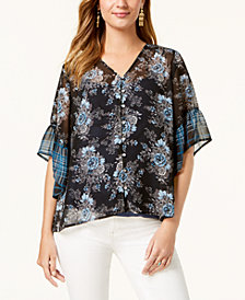 Style & Co Mixed Print Button-Front Blouse, Created for Macy's
